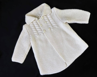 Vintage Hand Knitted Off White Double Breasted Baby Coat - 12-24 months