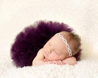 PLUM NEWBORN TUTU, Tutu and Rhinestone Headband, More Color Available, Newborn Tutu, Baby Tutu, Newborn Photo Props, Newborn Tutu Set