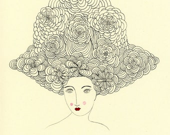 Floating Enchantment-Big Hair, Flowers in Hair, Floral Woman, Valerie Galloway print, art print, vintage inspired, Botanical Print
