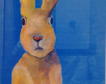 Rabbit under a Greek sky print on wood panel mounted