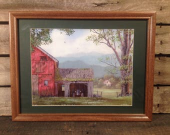 Country primitive farmhouse, tractor and barn scene framed and matted print