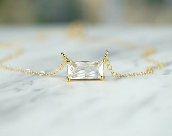 Simple Gold Necklace, Gold Filled Necklace, Emerald Cut Necklace, CZ Necklace, Dainty Gold Necklace, Bridesmaid Gift, Bridal Necklace