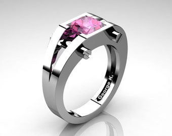 Modern 14K White Gold 1.25 Ct Princess Pink Sapphire Ring R394-14KWGPS