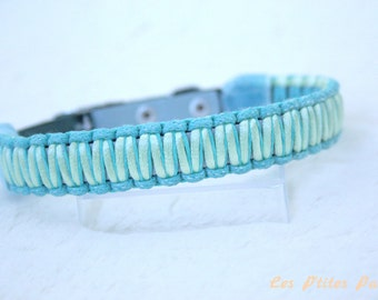 Adjustable dog collar blue and light green