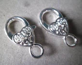 x 1 large lobster clasp heart patterned silver 25 x 13 mm