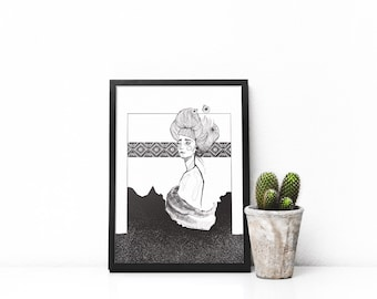Sea Melancholy >>>Girl Print>>Digital Illustration<<<Wall Art Poster<<Shevitza Elements<<<Print Gift<<BlackandWhite Poster<<<
