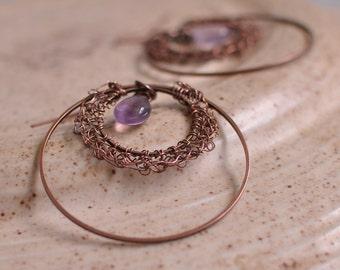 Earrings - antique copper and natural rainbow fluorite gemstone wire crochet earrings wearable art jewelry - Persian Eye