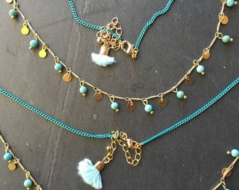 FAC86 - Turquoise magnesite and gold necklace