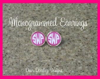 Monogrammed Hot Pink Josie Earrings Gold Plated