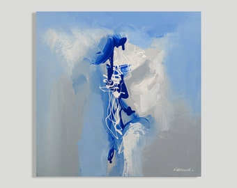 Painting Blue, Gray, White Abstract Modern