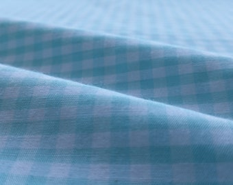 "MINI  CHECKERED GINGHAM 1/4 Inch Poly Cotton Printed Fabric - light blue- 57""/59"" Width Sold By The Yard"