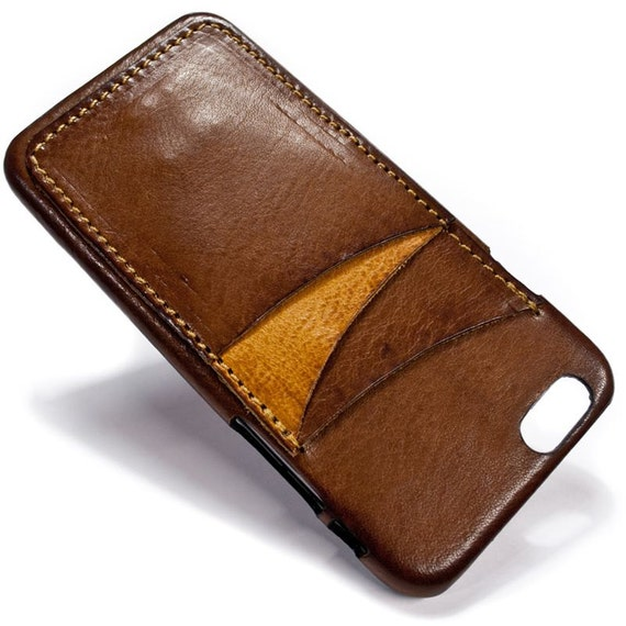 """NEW iPhone 8 and 7 display 4.7"""" Italian Leather Case with 3 credit cards holder vertical SLOTs choose the color of BODY and ACCENT"""