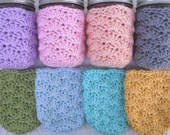 Mason Jar Cozy - Half Pint Sized Jar Cover - Crochet Jar Sleeve - Acrylic - Home Office Nursery Decor - You Choose Color  - MADE TO ORDER