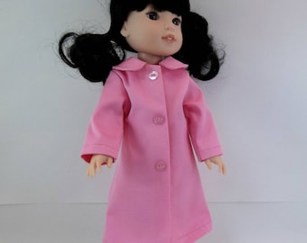 "Doll Coat for 14.5"" Doll Pink Coat  with Collar Fits Wellie Wishers Hearts 4 Hearts and Similar Dolls"