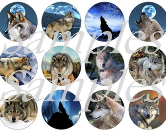 "Wolf Magnets, Wolf Pins, Wolf Cabochons, 1"" Flat Backs, Hollow Backs, Cabochons"
