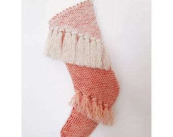 Hand Woven Pink Christmas Stocking