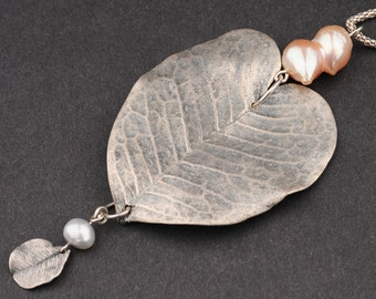 Pendant Necklece,Natural Leaf,Electroforming,Heart Shaped,Charm of Pearl and a Leaf, Long Silver Chain,Valentine