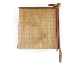 """Vintage Wood Paper Cutter 12"""" INGENTO GUILLOTINE Paper Trimmer"""