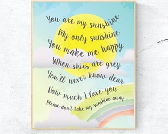You are my sunshine print, Sunshine print, You are my sunshine lyrics, Nursery print
