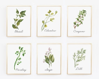 Watercolor Herbs Printable Set, Kitchen Art, set of 6, Watercolor Herb Art, kitchen art print, rustic kitchen decor, herbs printable bundle