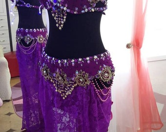 """Belly dance costume, belly dance outfit, dance costume """"Purple flowers"""""""""""