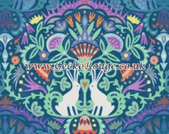 Cross Stitch KIT, Counted Cross Stitch, Emily Dyer, Needle Craft , Spring Flowers, Cross Stitch Pattern, Rabbit Cross Stitch, , Xstitch Kit