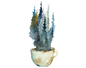 Pine Mug - 1  - Watercolor Art Print - pine trees, forest, coffee, mug, tea, nature, north woods