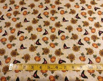 Birds and pumpkins on beige fabric, beige cotton, bird quilting cotton, harvest on beige quilting fabric, bird sewing fabric