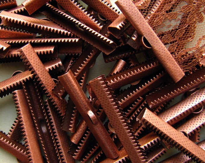 144 pieces 40mm or 1 9/16 inch Antique Copper Ribbon Clamp End Crimps
