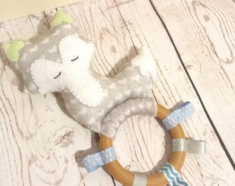 Baby Boy Teething Rattle, Fox Green and Grey with taggies