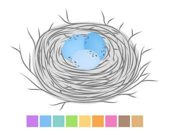 Birds Nest Clipart Gray, Birds Nest Digital Clip Art, Cute Clipart, Baby Shower Clipart, Instant Download, Commercial Use