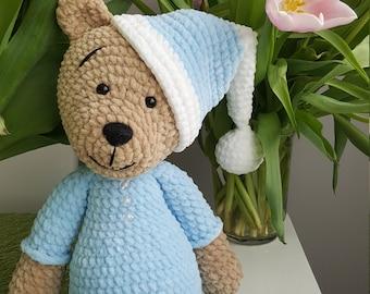 Crochet toy for sleeping, handmade, teddy bear, amigurumi, plush toy, baby shower gift
