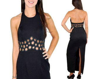 Beaded gown black gown circle cut outs beaded circles Mod dress halter dress Size 8