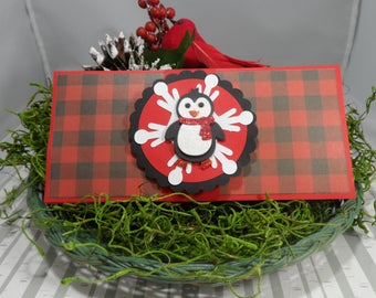 Buffalo Plaid Christmas Money Holder, Money Card, Christmas Money Card