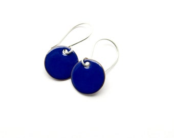 Small Royal Blue Dangle Earrings with Sterling Silver Earwires - Enamel Jewelry for Everyday Wear - Gift for her / Candies