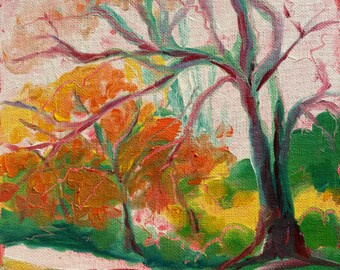 Park Trees 19. Original abstract landscape oil painting