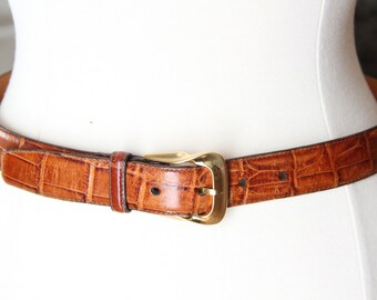 SALE was 28.00 Vintage Brighton Embossed Calf Skin on Saddle Leather Belt Awesome Size L