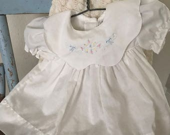 Vintage baby dress and bloomers beautiful white cotton embroidery details ALEXIS tag