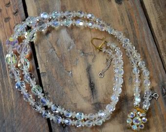 Vintage Necklace, Crystal Necklace, Multistrand Necklace, Antique Necklace, Vintage Jewelry, Aurora Crystals, Wedding Gift, Women Gift