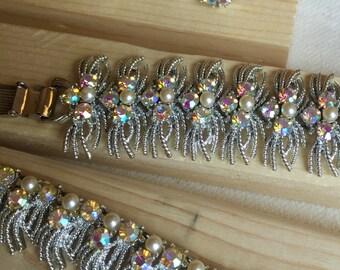 CORO parure 4pc necklace bracelet earrings vintage modernist set rhodium aurora borealis rhinestones bridal set