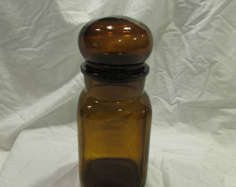 Bubble Top Jar, Amber Glass, Apothecary Jar, France, 1970's