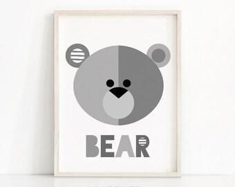 Bear Nursery Art Print, Animal Nursery Print, Digital Download, Nursery Wall Art, Printable Kids Art, Gray Nursery Decor, Bear Wall Art