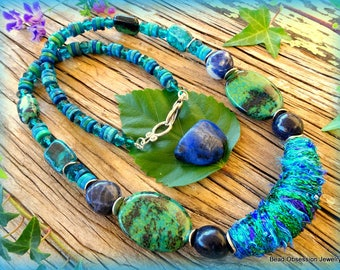 Boho Necklace; Blue Green Necklace; Fiber Necklace; Hippie Necklace; Bohemian Necklace; Chrysocolla Necklace; Australian Seller
