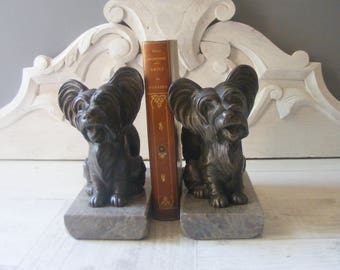 Adorable Large French Art Deco DOGS Book Ends on a marble base.