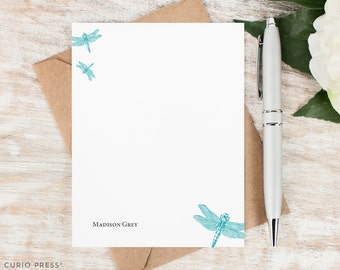 Personalized Stationery Set / Set of Flat Custom Stationery Cards / Custom Stationary Note Cards / Personalized Thank You Notes // DRAGONFLY