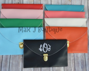 Monogrammed Envelope Purse - Personalized Clutch -  Monogrammed Clutch - Bridesmaid Gift