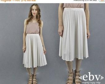 Midi plissée jupe jupe blanche blanc Midi jupe plissée jupe jupe d'été des années 70 jupe années 1970 Secrétaire jupe jupe haut lieu jupe M L