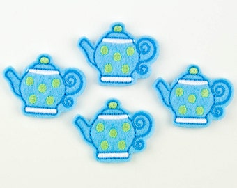 TEAPOT with Dots  - Embroidered Felt Embellishments / Appliques - Light Blue & Green (Qnty of 4) SCF0240