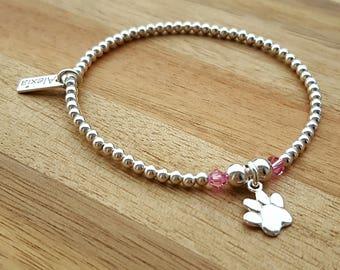Paw Bracelet, Sterling Silver Paw Bracelet, Silver Paw Bracelet, Bead Bracelet, Dog Paw, Cat Paw, Gift For Her, Alexia Jewellery