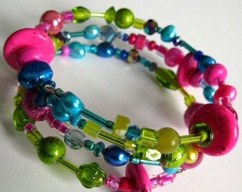 ANGELE. multicoloured beaded wrap cuff bracelet or anklet wrap